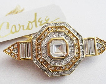 Vintage Crystal Rhinestone Baguette Deco Style Pin - Signed Carolee