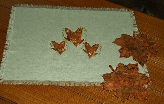 Fall Leaves Batik Applique Mug Rugs