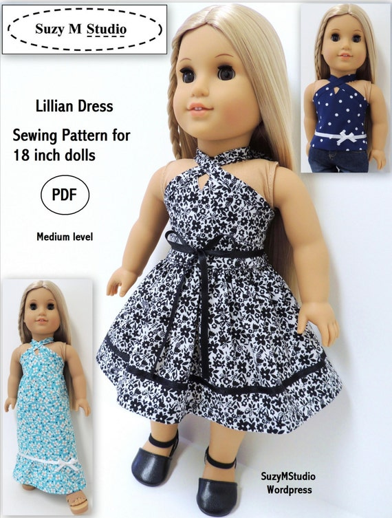 lillian dress and top pattern pdf for 18 inch dolls