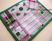 Chalkimamy TRAVEL chalkboard mat/ placemat made with pink plaid John Deere licensed fabric (a)
