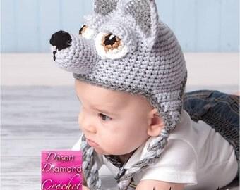 Crochet Pattern 009 - Wolf - Husky Puppy Earflap Beanie Hat - All Sizes