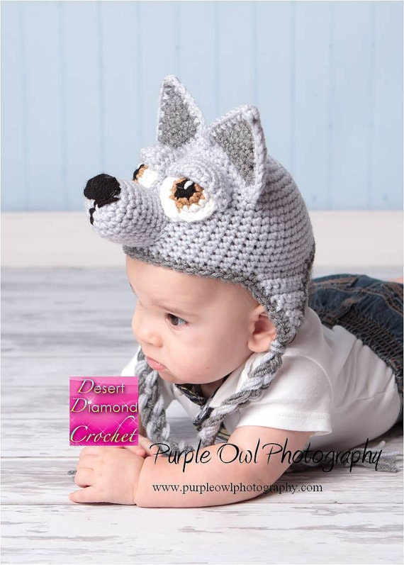 Crochet Pattern 009 - Wolf - Husky Puppy Earflap Beanie Hat - All Sizes