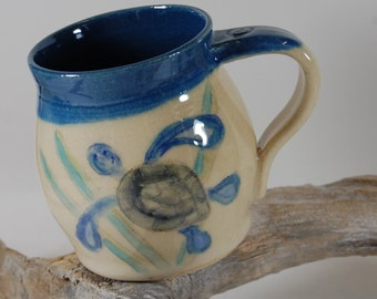 Pottery Mug, Sea Turtle 101, Hand Painted, Serving, Handmade