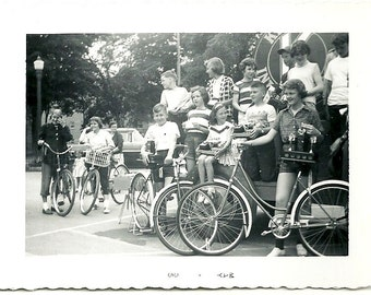 1955 Vintage Snapshot Photo Children With Bicycles And Trophy After Race Oakville Ontario Canada Photograph