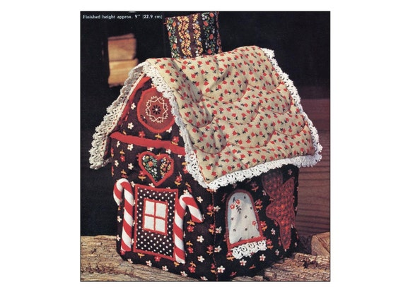 Gingerbread House Patchwork Sewing Kit Soft Quilted Tissue Box