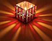 MARIA Red and Orange Stained Glass Mosaic Candle Holder