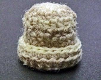 Miniature Stocking Cap Hat Toque in Soft Cream and Gray