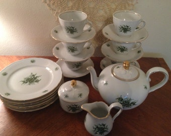 Sale*Bavarian TEA SET. GREEN Roses,Service for 6,Holiday Serving Pieces,TeaTime,Luncheon Set,Oscar Schaller & Co,TeaPot TeaCups,Thanksgiving