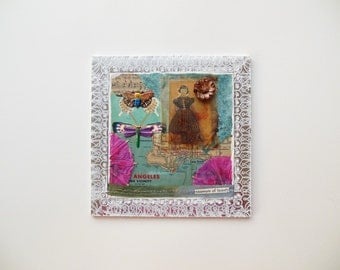 unaware of beauty - mixed media original assemblage ready to hang