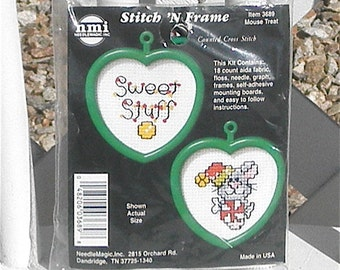 Sweet Stuff Mouse Treat Counted Cross Stitch Kit Set of Two with Heart Frames