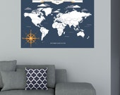 World Traveler Map, INTERACTIVE Family Map, Mark the places you've visited // Personalized, Gallery Wrapped Canvas or Print // H-I05-1PS AA4