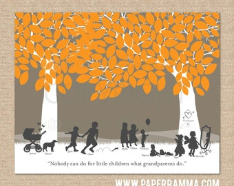Silhouette Art // Gift for Grandparents // Personalized Print w/ Grandchildren Silhouettes // You Choose Print Size & Type // H-F05-1PS HH9