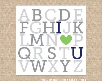 ABC I love you // Nursery, Kids Room Giclée Art Print // N-G11-1PS // 12x12 Art Print AA1