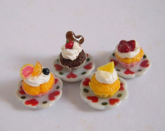 Cup Cake Ring, Miniature Cake On Ceramic Plate, Adjustable Ring Size, Select Your Cake