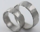 Custom Platinum Rustic Wedding Bands 6mm All Recycled Metal Hand Forged