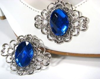 Sapphire Blue Shoe Clips Silver Filigree 1 Pair Accessories for your Shoes