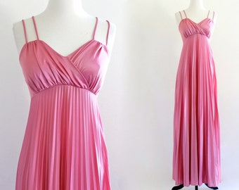70s Pink Mauve Pleated Empire Grecian Goddess Boho Hippie Garden Prom Maxi Gown Dress . XS . S . D053 . No.509.9.18.13
