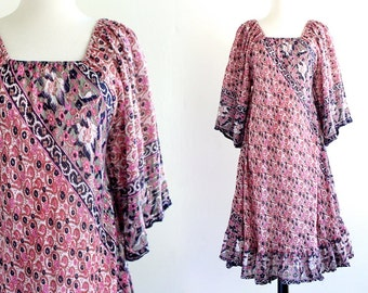 70s India Sheer Cotton Gauze Metallic Boho Hippie Caftan Ethnic Festival Dress Maxi Indian Tent . XS . SM . No.527.10.11.13