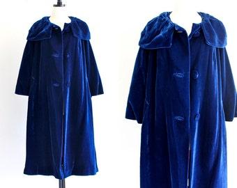 60s Union Label Blue Velvet Swing Opera Cape Mod Coat Maxi Dress Jacket . SM . hanger . No. 586.10.23.13