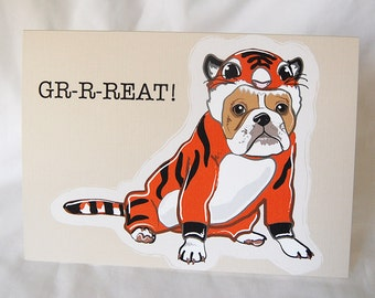 Lil Tiger Bulldog Greeting Card