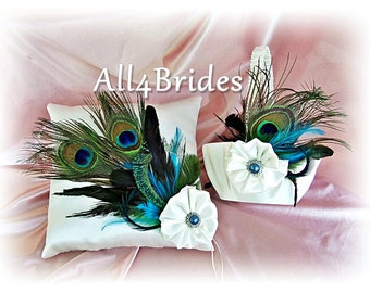 Peacock wedding ring pillow and basket, peacock feathers ring bearer pillow and flower girl basket set, peacock wedding decorations
