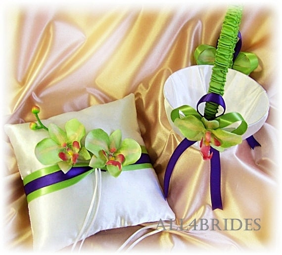 Purple and green orchids wedding ring bearer pillow and flower girl basket, basket and cushion set