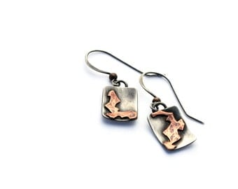 Mixed Metal Jewelry, Silver and Copper Mismatched Earrings, One Of A Kind Eco-Friendly Jewelry, Oxidized Silver Earrings