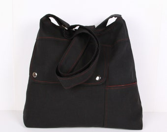Messenger ,Shoulder Bag ,Everyday Bag ,Diaper Bag ,Dark Gray Canvas with claret red lining, Adjustable Strap