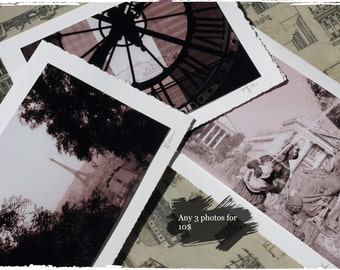 3 Hand made artistic photo note cards mix and match