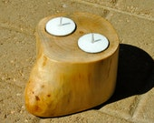Maple double tea light holder with 2 FREE candles
