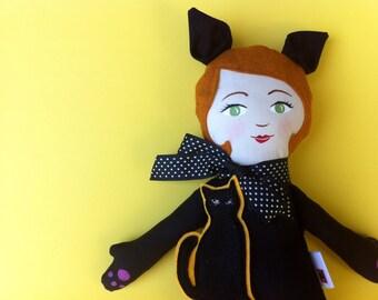 Halloween Black Cat Doll, Kitty Girl Fabric doll cloth doll rag doll handmade Made to Order