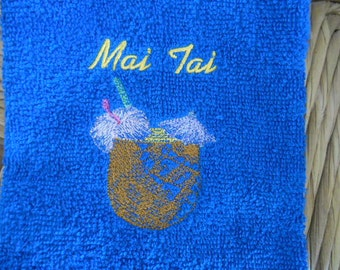 MAI TAI drink  Embroidered Terry Cloth HAND Towel
