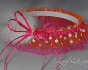 Wedding Garter in Hot Pink and Orange Polka Dot with Pearl and Marabou Feathers