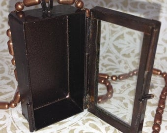 """2 Rectangle Shadow Box Necklaces, antique gold or copper, 18"""" ball chain, G2327"""