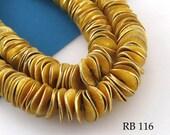 10mm Gold Tone Potato Chip Beads, Wavy Disk, Brushed Gold (RB 116) 102 pcs BlueEchoBeads