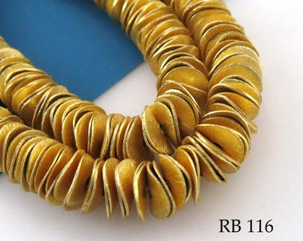 10mm Gold Tone Potato Chip Beads, Wavy Disk, Brushed Gold (RB 116) 100 pcs BlueEchoBeads