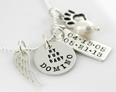 Pet Memorial Necklace - Simply Charming My Fur Baby Necklace - hand stamped personalized pet tribute necklace