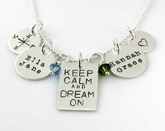 Keep Calm and Dream On Necklace - Simply Charming Multi Charm Necklace - hand stamped personalized family necklace