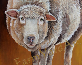 Mildred Ewe An original sheep painting art Dorset Cotswold Corridale