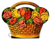 Vintage - Paper SEWING NEEDLE BOOKLET Holder - Roses in Basket- Art Deco - printed colorful flowers - good condition inside and outside -