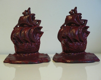ART DECO red cast iron ship bookends/ vintage 1930s nautical bookend