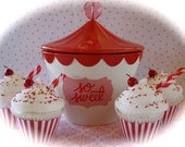 """Fake Cupcake Retro Inspired (1) """"Big Top Birthday Collection"""" Candy Cane Red/White Striped Fab for Birthday Party Decor"""