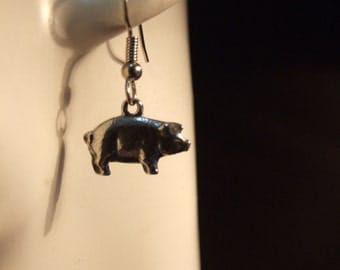 Pig earrings made with Australian Pewter and Surgical Steel hook