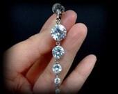 Cubic Zirconia Bridal Clip On Earrings, Gold or Silver, Screw Back Earrings, Brilliant Cut Cz Linear Jewelry, GRACE
