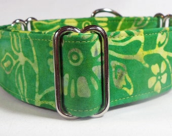 Green and Yellow Cotton Batik Whippet, Galgo, Dane, Greyhound Marytingale Collar