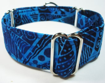 "1.5"" Blue Batik Galgo, Whippet, Greyhound Martingale Dog Collar"