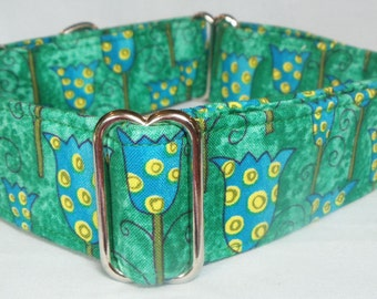 Green and Blue Tulips Greyhound, Whippet, Borzoi, Galgo,Saluki Martingale Collar