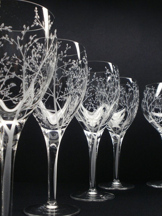 Four Wine Glasses . 'Branches & Leaves' Hand Engraved Wedding Gift Bridal Party Crystal Glass Stemware