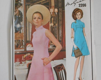 Vintage 60s A Line Dress Pattern Vogue Paris Original 2206 Molyneux Size 14 Bust 36