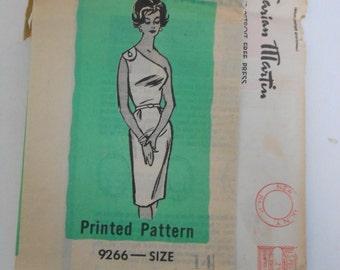 Vintage 60s Off The Shoulder Dress Pattern Marian Martin Mail Order 9266 Size 14 Bust 34